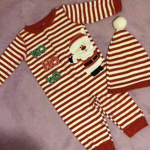 😴 Santa Claus, Pajamas 🎅 with matching cap.